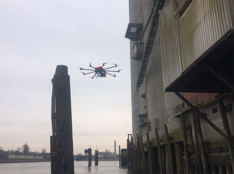 Fassadeninspektion Drohne Hafen
