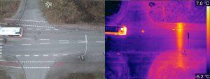 Wärmebild Strasse Drohne